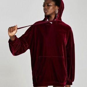 Zara Burgundy Red Oversized Velvet Hoodie Sweater
